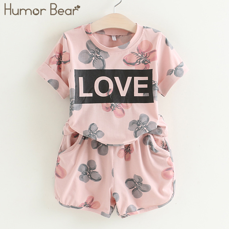 Humor Bear Baby Girls Clothes Kids Set Fashion Love Letter + PANT 2PCS SET Baby Girls Clothing Set Kids Cartoon Clothes Set