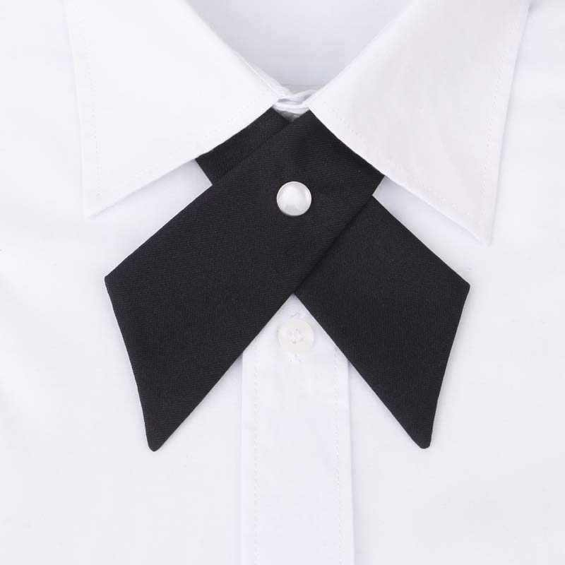 Mantieqiangway Cross Collar Tie for Men Formal Solid Color Wedding Party Button Bowknot Women Bow Ties Brand Cravat Neck Ties