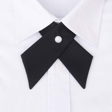 Fashion Cross Collar Tie for Men Formal Casual Solid Color Wedding Party Button Bowknot Women Bow Ties Brand Cravat Neck