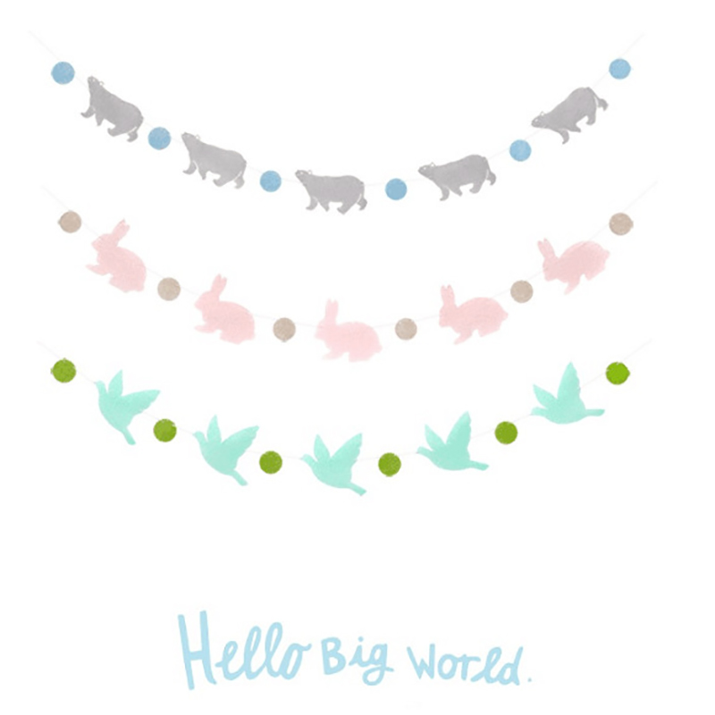 Happy Birthday Decoration Rabbit Polar Bear Candy Bar Bunting Wedding Supplies Babyshower Wreath Slingers Garlands Party Decor in Banners Streamers Confetti from Home Garden