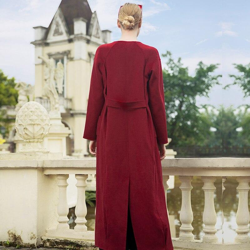 Style Pardessus Rouge Lady Chaud Cachemire Manteaux Automne Manteau Femmes 6956 Hiver Britannique x1wYvT7q