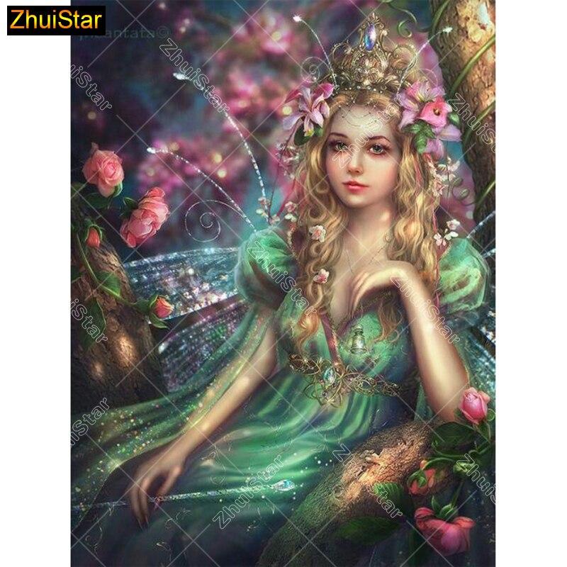 Full Square Diamond Painting rhinestone Cross Stitch Wings Beauty Girl Diy Diamond Embroidery Diamond Mosaic Wall Decor Gift