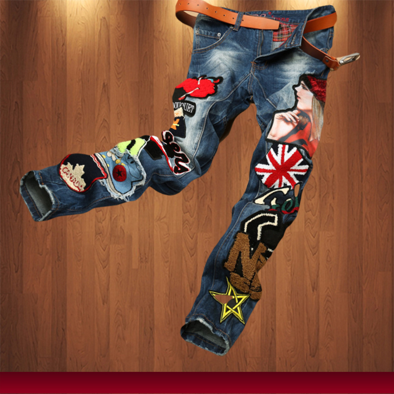 2015 new fashion men straight jeans cloth stitching multi hole patchwork and the wind wash jeans