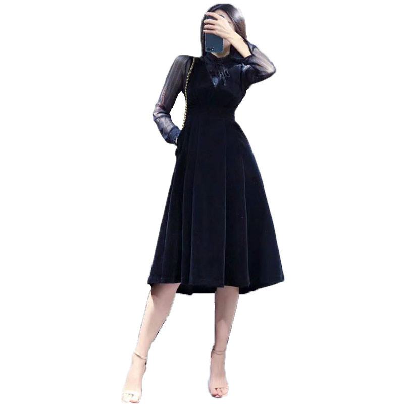 2019 New Elegant Women Dress Autumn patchwork Contrast Mesh Slim Long Sleeve Form Ruffled Dress A Line Slim Knee Party Dress X77