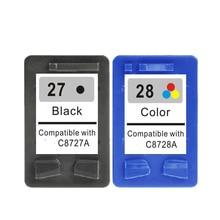 2 stücke für hp27 28 black & farbe tintenpatrone für hp 27 28 für hp deskjet 450 450ci 5550 3420 3520 3550 3650 3740 3745 3843 3845