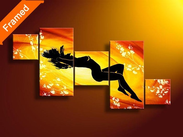 Red color nude woman oil painting hot sex canvas pictures for living ...