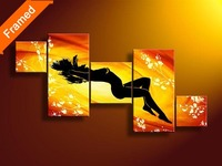 Red color nude woman oil painting hot sex canvas pictures for living room wall decoration 5 piece canvas art for friends gift