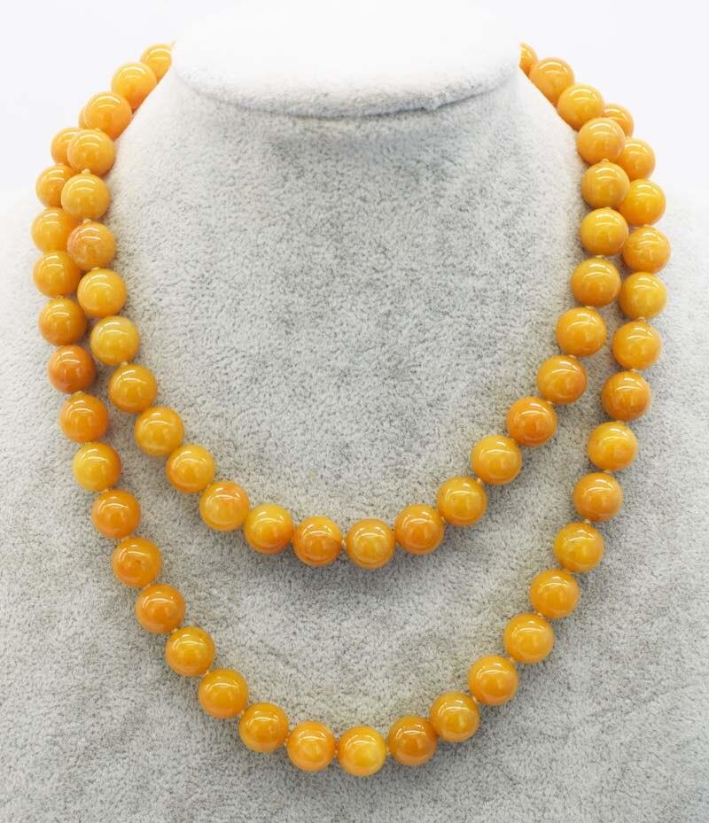 դեղին topaz կլոր 10 մմ մանյակ 32inch մեծածախ - Նուրբ զարդեր - Լուսանկար 1