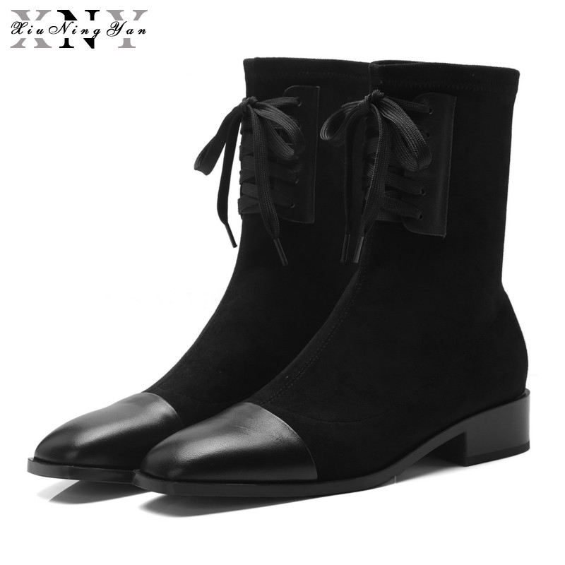 XiuNingYan Shoes Woman Boots Genuine Leather Lace-up Square Low Heel Women's Ankle Boots Fashion Square Toe Autumn Boots Women 2017 new fashion lace up women boots genuine leather square heel black autumn winter sexy brand ladies ankle boots women shoes
