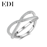 EDI Natural Real 14k White Ring Wedding Jewelry Bands Statement Promise Rings For Women Fine Designer