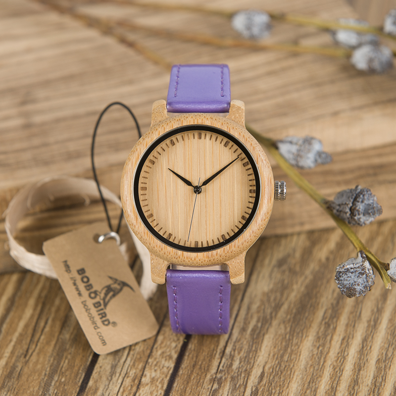 BOBO BIRD WJ07 Bamboo Watch Simple Genuine Purple PU Leather Band Quartz Watch Gril Women Gift Relojes Mujer Accept OEM Relogio