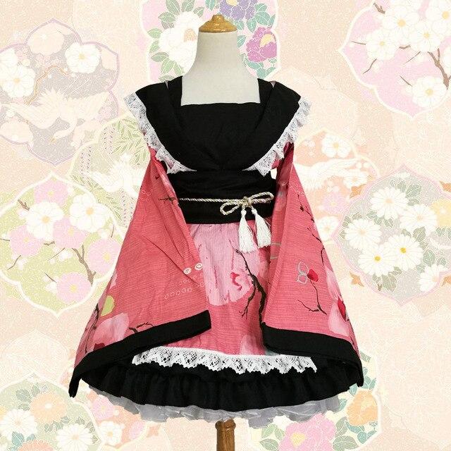 SEEDRULIA  Anime Cosplay Lolita Halloween Fancy Dress Japanese Kimono Lovely Cos Dress 2