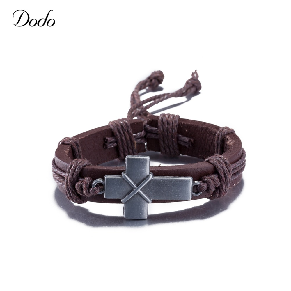 Handmade Punk Style Genuine Leather Braided Bracelets Vintage Cross Charm Wristband Men And Women Wrap Bangles Accessories SH146
