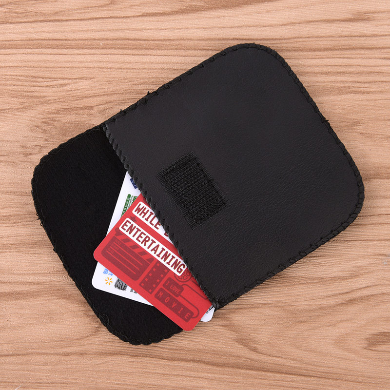 Mini Portable Earphone Case Bank Card Holder ID Bank Card Case 9*9cm Leather Bag