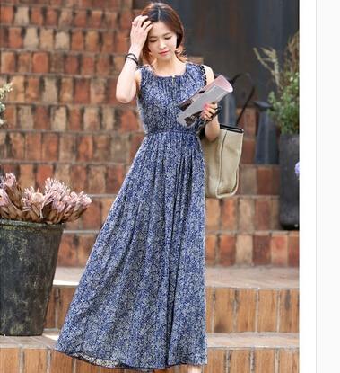 Online Get Cheap 2015 Floral Print Vintage Maxi Long Dress ...