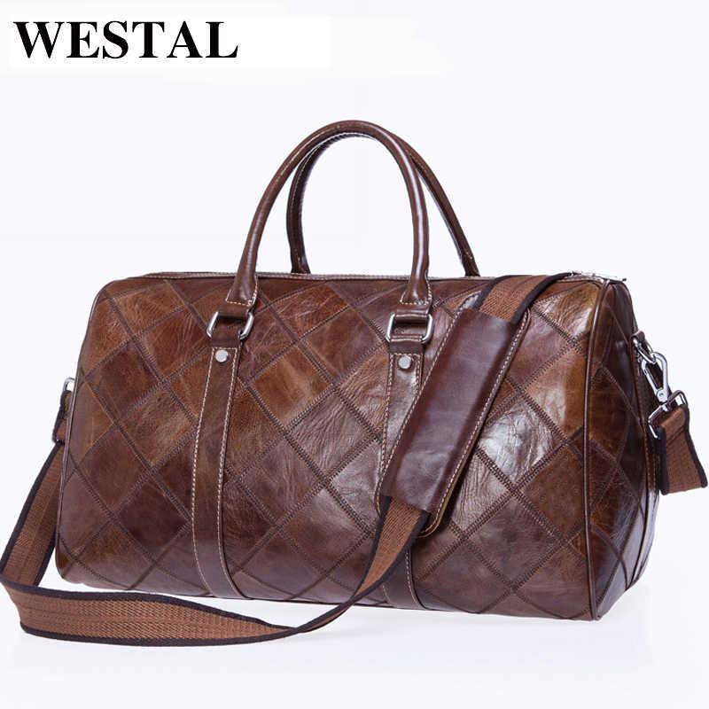 27ad84b4b33a WESTAL Мужская Дорожная сумка для багажа Мужская натуральная кожа вещевой  мешок чемодан для переноски сумки для
