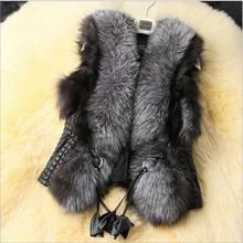 2016 Fashion Black Faux Fur Vest Warm Winter Fur Jacket Coats for Women Fashion Female Fur Vest
