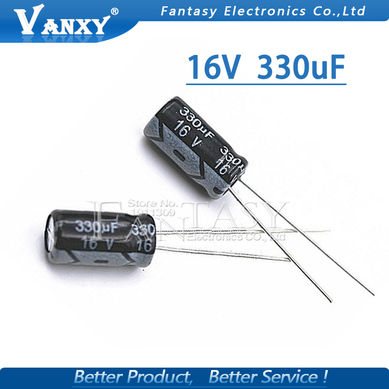 50PCS Higt Quality 16V330UF 6*12mm 330UF 16V 6.3*12 Electrolytic Capacitor