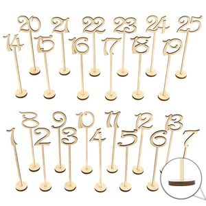 Wooden Wedding Table Numbers 1-25 pcs Vintage Home Birthday Party Event Banquet Decor Anniversary Decoration Favors Signs Colo(China)