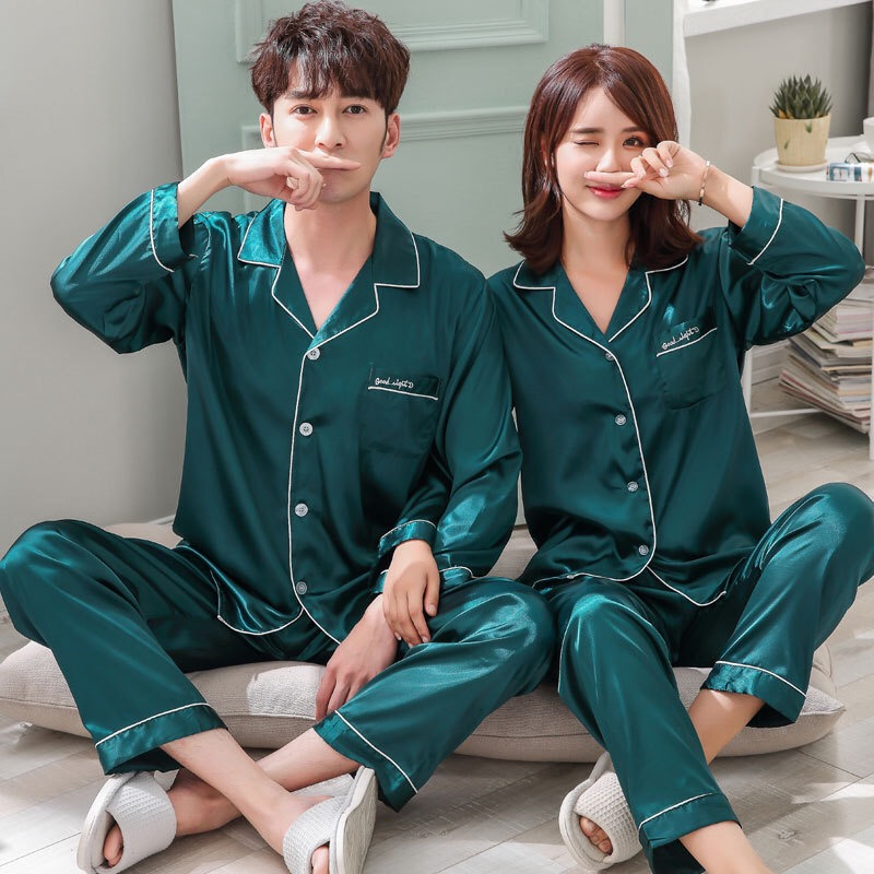 Autumn Spring Couple Matching   Pajamas     Set   Faux Silk Satin Solid Simple Full Plus Home Wear For Lovers Woman Man Autumn 2018 New