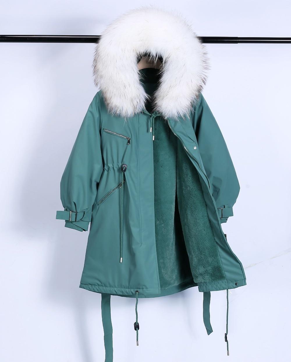Large Natural Raccoon Fur Winter Jacket Women Hooded 19 Long Parkas For Female Thick Slim Down Winter Coat Women Waterproof 24