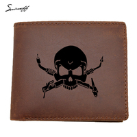 COWATHER 100 Top Quality Genuine Leather Men Wallets Interesting Welders Skull Fashion Purse Dollar Price Carteira