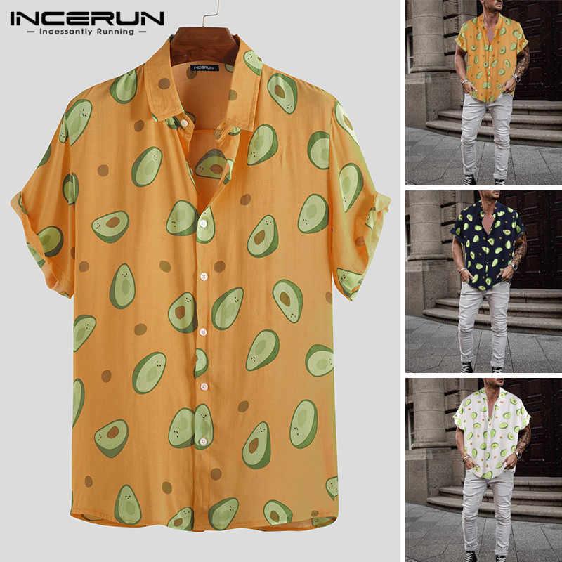 INCERUN летняя Гавайская Мужская рубашка Повседневная Праздничная Новая мода авокадо уличная персональная печать лацканы Camisa Masculina 2019