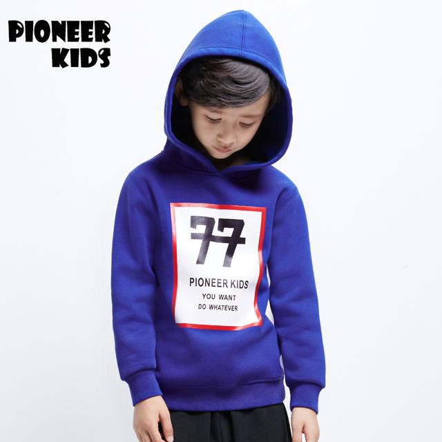 Pioneer camisolas letras impressas meninos das crianças 2016 outono inverno crianças hoodies 4-16 anos crianças moletom blusa da moda 6t915