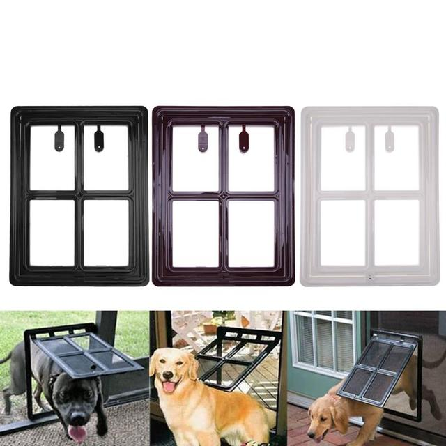 Foldable Plastic Cat Dog Door For Screen Window Gate Pet Free Access Door  Automatically Shut Down