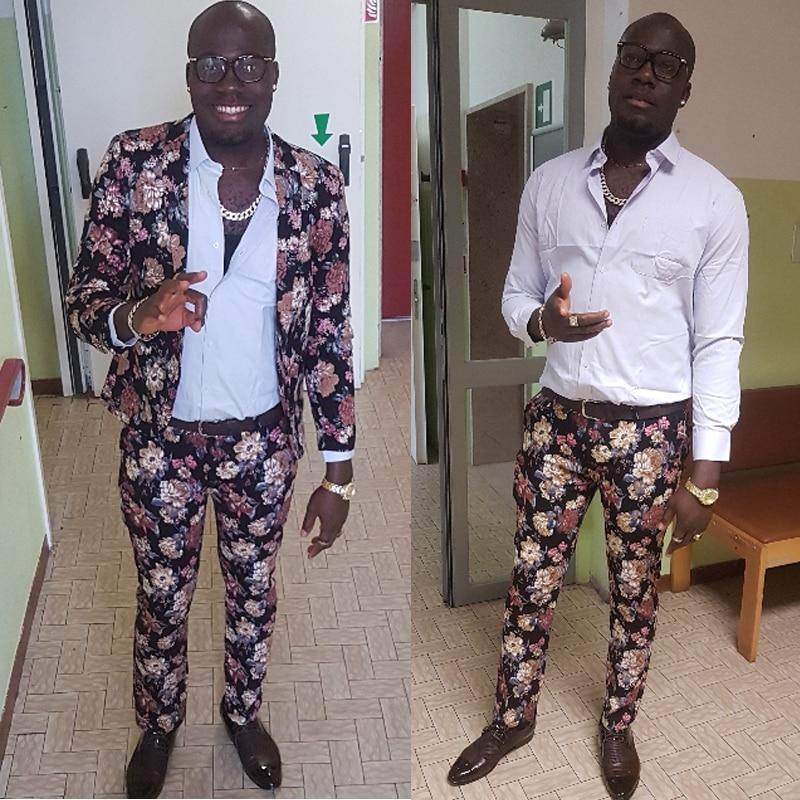 LONMMY Wedding Dress Suit Men 2 Pieces Sets Mens Floral Blazer Slim Fit Mens Blazers And Jackets Fashion Flower Plus Size 5XL