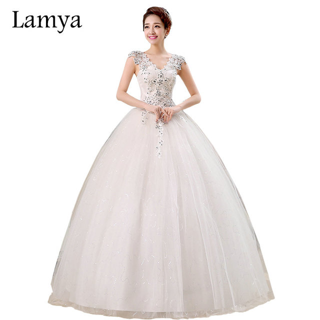 Plus Size Lace V Neck Cheap Wedding Dress 2018 Summer Style Fashionable Sequined Bridal Gowns