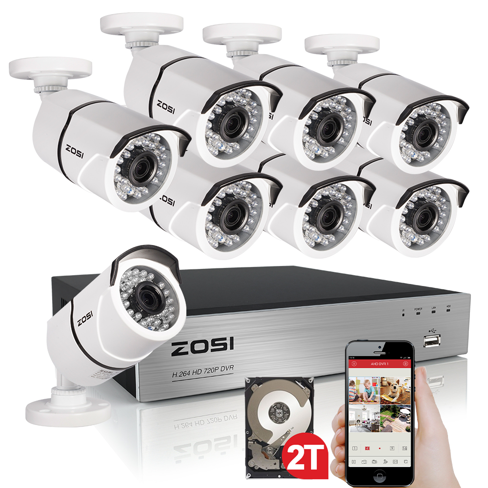 ZOSI 1080P 8CH TVI DVR with 8X 1080P HD Outdoor Home Security Video Surveillance Camera System ...