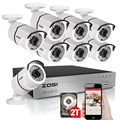 ZOSI 1080P 8CH TVI DVR with 8X 1080P HD Outdoor Home Security Video Surveillance Camera System 2TB Hard Drive White