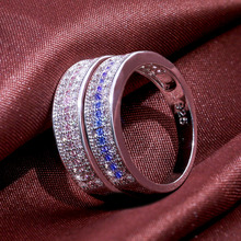 цены Huitan Casual OL Style Ring Band With Micro Paved Cute Birthday Gift For Girlfriend Brass Silver Plated Jewelry Ring For Women