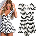Fashion Brand New Summer Rompers Womens Jumpsuit Striped Short Sleeve V-Neck Jumpsuits 2016 Plus Size Playsuit Romper Shorts