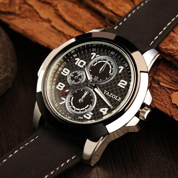 New Fashion YAZOLE 3ATM Sport Army Genuine Leather Quartz Wrist Watch Wristwatches for Men Male Students Boy OP001