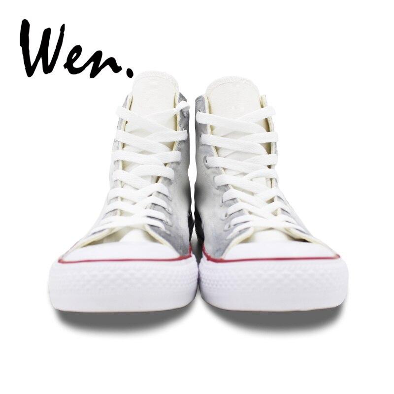 a046a7c1c45 Wen Branco de Alta Top Sapatos de Lona Projeto Original Do Crânio Zumbi  Pintados À Mão Sapatos Homem Mulher Lace up Sneakers Formadores Plimsolls  em Sapatos ...