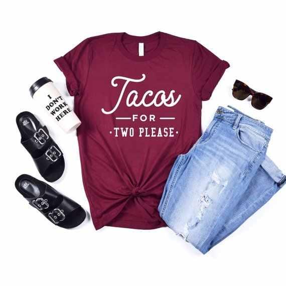 a8d1d5d2c OKOUFEN Pregnancy Announcement Tacos For Two Please T-shirt Pregnancy  Reveal New Mom Shirt Pregnant