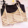 2016 Summer Bustier Crop Tops Women Black nude Strappy Bra Halter Tank Top Sexy Backless Camisole Cheap Tops Cropped Bralette 03