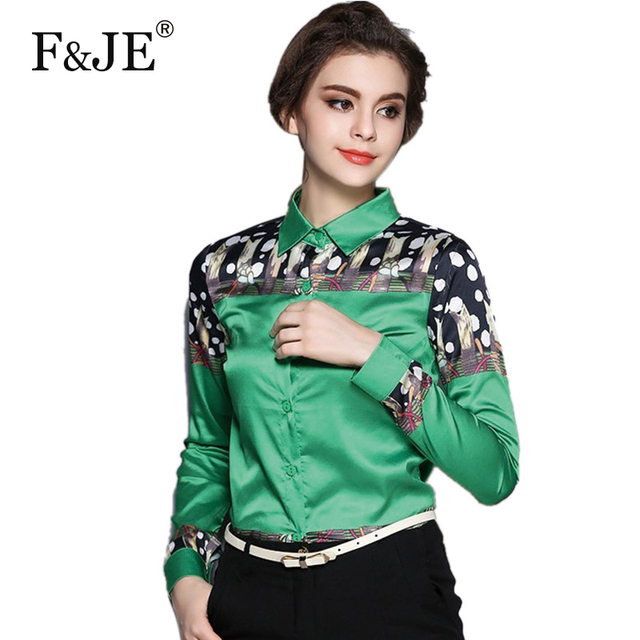 2017 spring New Fashion European style Women long sleeve Shirts High Quality Silk Print Brand Shirt Plus Size Ladies Blouses N01