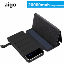 20000MAH Foldable Dual USB Solar Power Bank Portable Outdoor Travel Battery Fast Charger Supply for Smartphone with LED Light