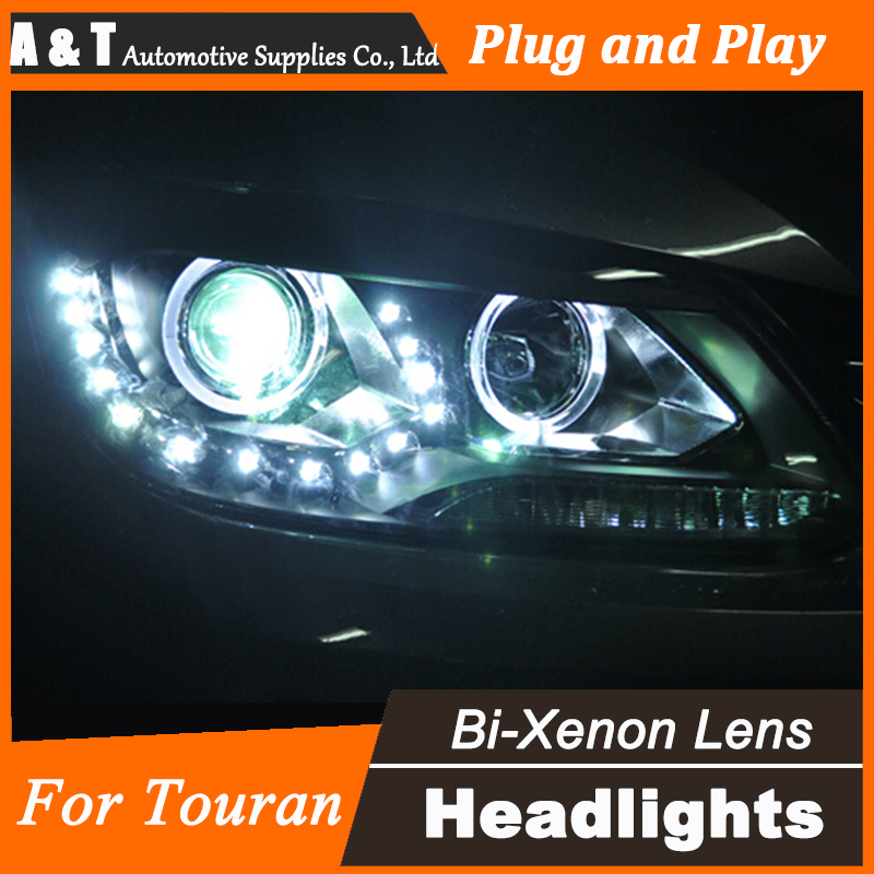 Car Styling for VW Touran Headlight assembly for Touran LED Headlight DRL Lens Double Beam H7 with hid kit 2pcs. right combination headlight assembly for lifan s4121200