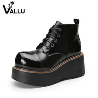 Flat Platform Women' s Boots Shoes New Arrival Lace Up Ladies Shoes Genuine Leather Handmade Wedge Shoes Woman
