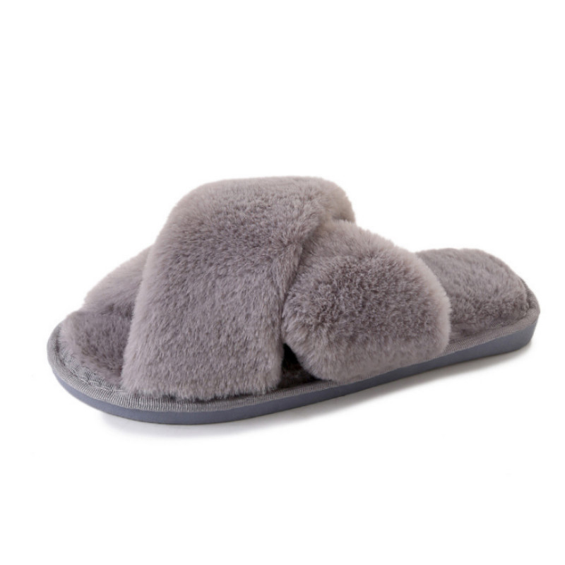 Women Home Slippers with Faux Fur Fashion Warm Shoes Woman Slip on Flats  Female Slides Black Pink Plus Size 41 8bf9c7057888