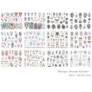 Набор стикеров с 12 рисунками Ловец снов, наклейки для нейл-арта с перьями, слайдер с водяными знаками, маникюрные, с рисунком совы