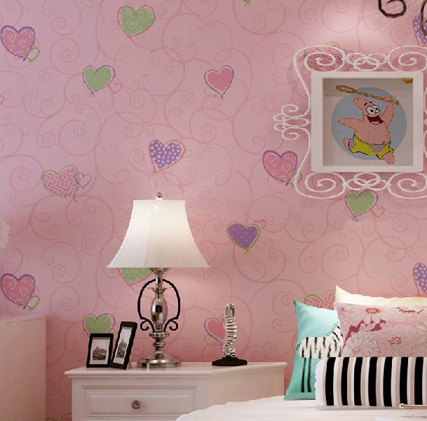 Popular pink heart wallpaper buy cheap pink heart for Papel de pared infantil