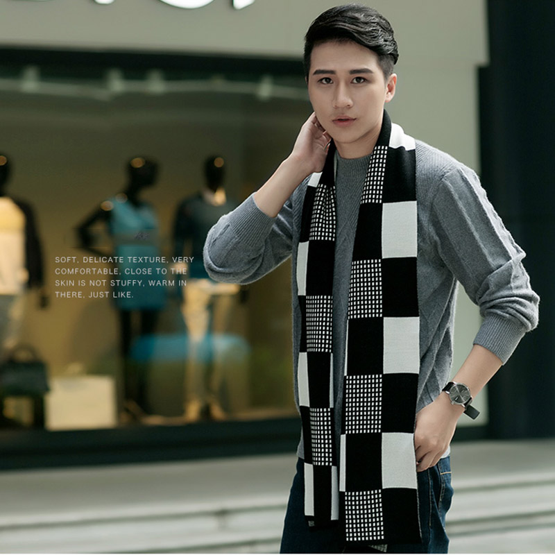 High Quality Men s Winter Scarf Style Fashion Neck Scarves Men Plaid Cashmere font b Tartan