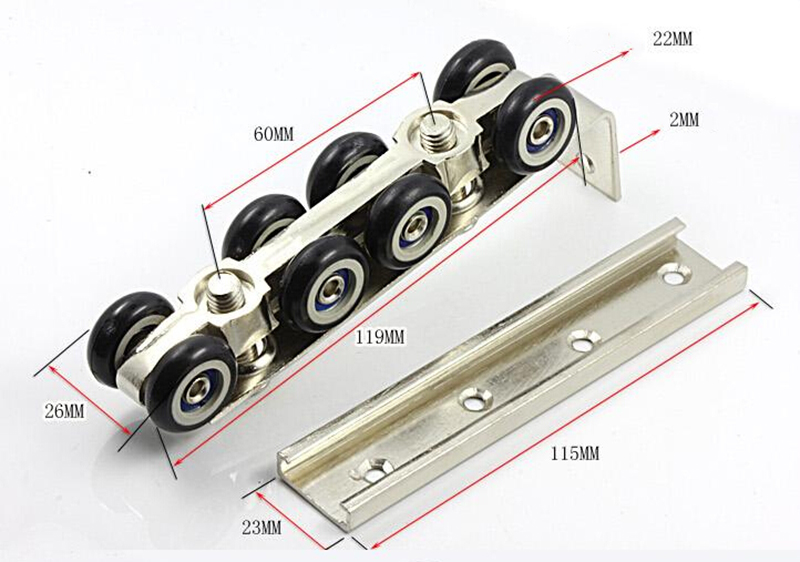 Hardware Slide Doors Pulley 8 Wheels Pulley Sliding Doors Hanging Rail Wheel,for 1 Door// 30 30 Hanging Rail HM51
