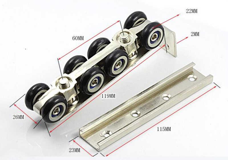 8 גלגלי גלגלת, גלגלת דלתות שקופיות חומרה, דלתות זזים תליית גלגל רכבת, עבור 1 דלת/30*30 רכבת תלויה HM51