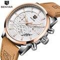 BENYAR, мужские часы, Топ бренд, Роскошные, бизнес, водонепроницаемые, спортивные, с хронографом, кварцевые, коричневые, золотые, мужские часы, ...